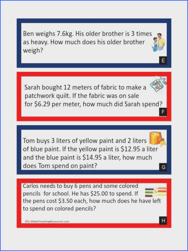 NBT 7 Multiplying Decimals Word Problems FREE