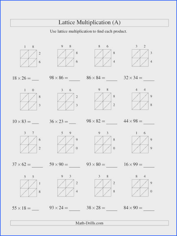 Lattice Multiplication Two digit by Two digit A Multiplication Worksheet