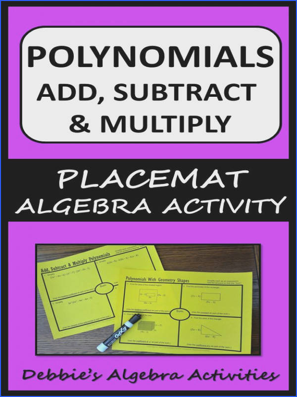 Add Subtract & Multiply Polynomials AND With Geometry Shapes Placemats