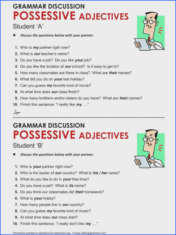 English Grammar Possessive Adjectives possessive adjectivesml