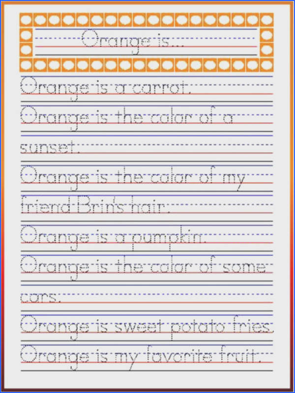 Handwriting Practice Orange Poetry