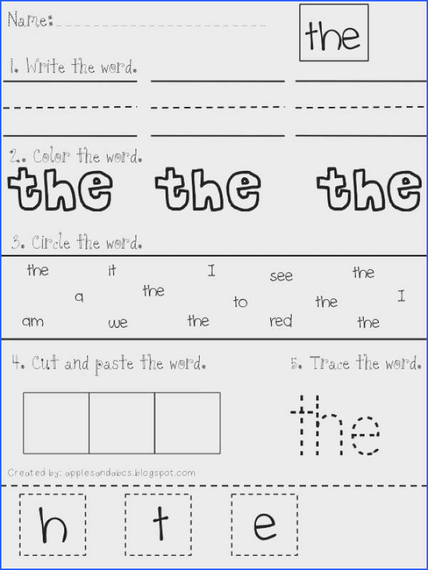 79 Best Sight Words Images On Pinterest Image Below Kindergarten Sight Words Worksheets