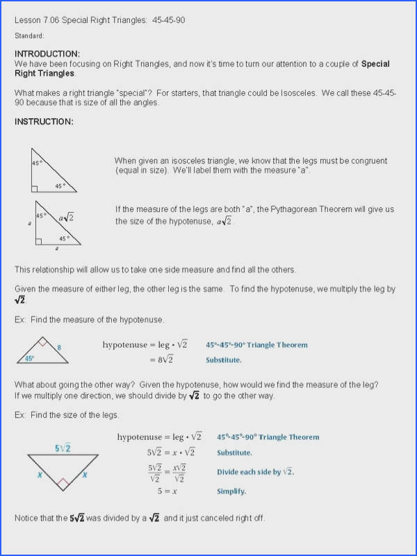 cosgeometry & Lesson Special Right Triangles