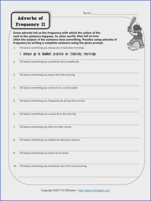 Adverb Worksheet Adverbs of Frequency
