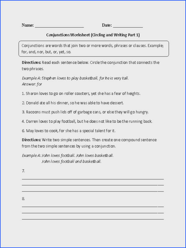 Circling and Writing Conjunctions Worksheet