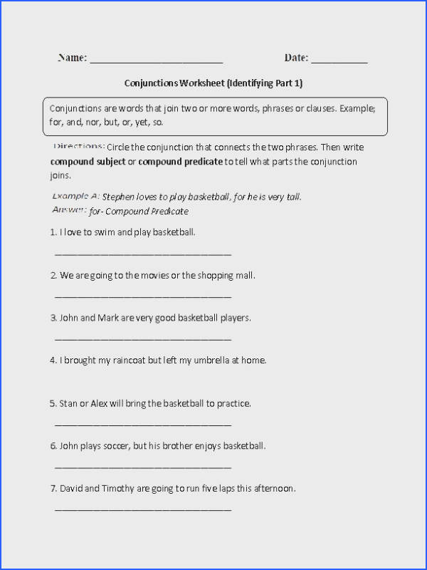 Identifying Conjunctions Worksheet