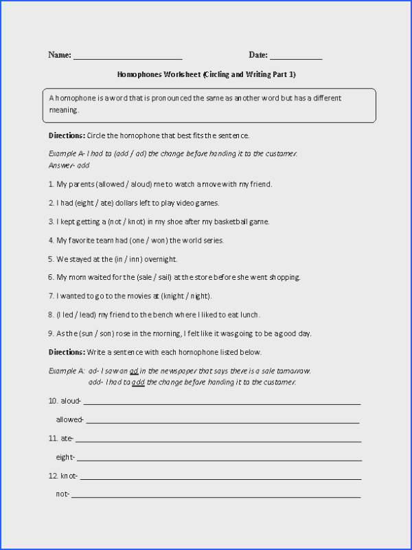 Choosing and Writing Homophones Worksheet