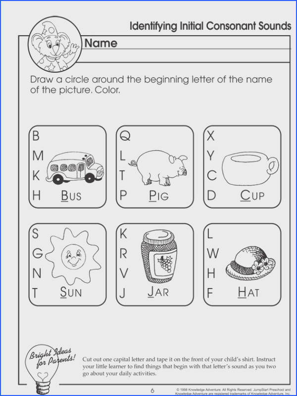 Identifying Initial Consonant Sounds Which e – Letter Sounds Worksheet for Preschoolers JumpStart