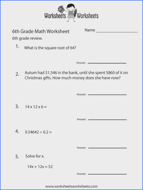 6 grade math worksheets