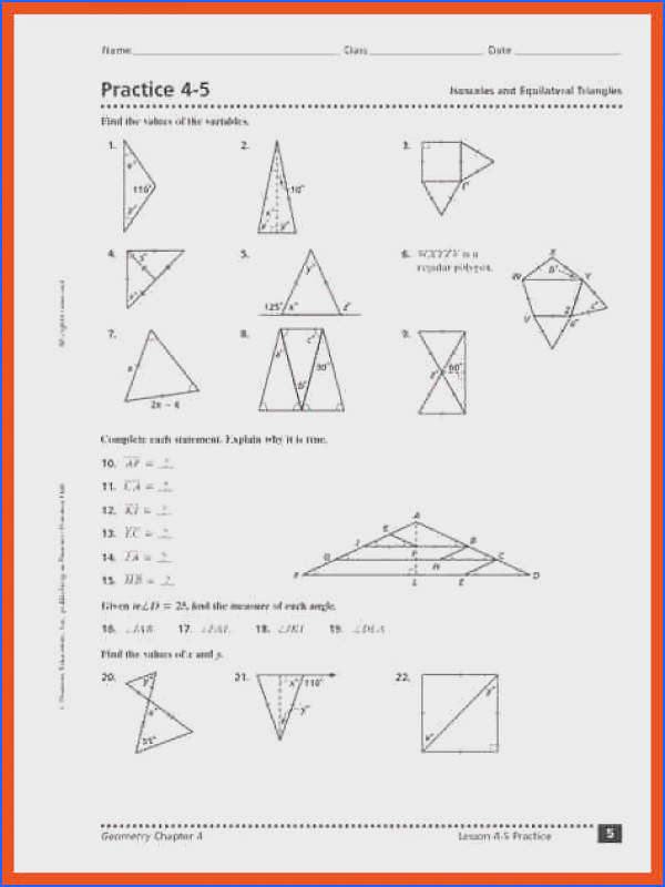 Isosceles and Equilateral Triangles Worksheet | Mychaume.com