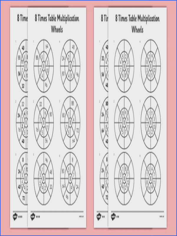 8 Times Table Multiplication Wheels Worksheet Activity Sheet Pack times table multiplication wheel