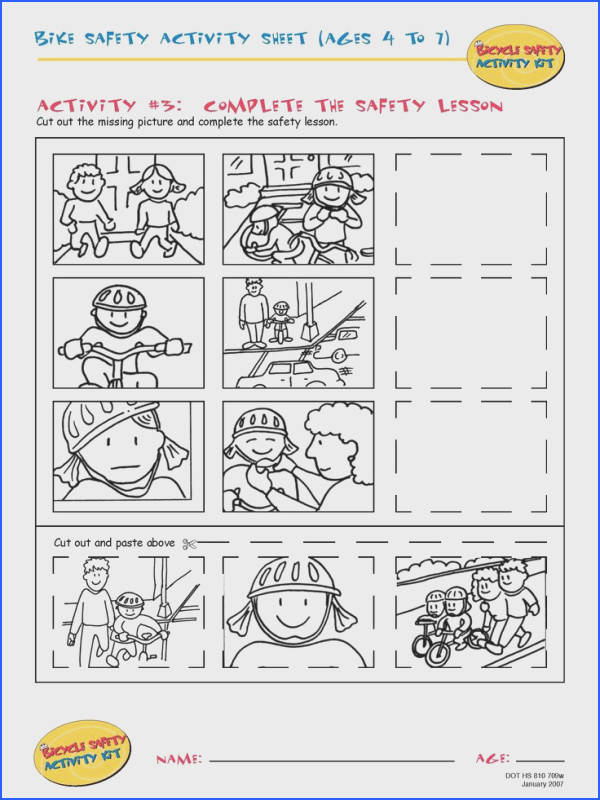 Bike Safety Activity Sheet Ages 4 to 11 plete the Safety Lesson · Preschool WorksheetsPreschool