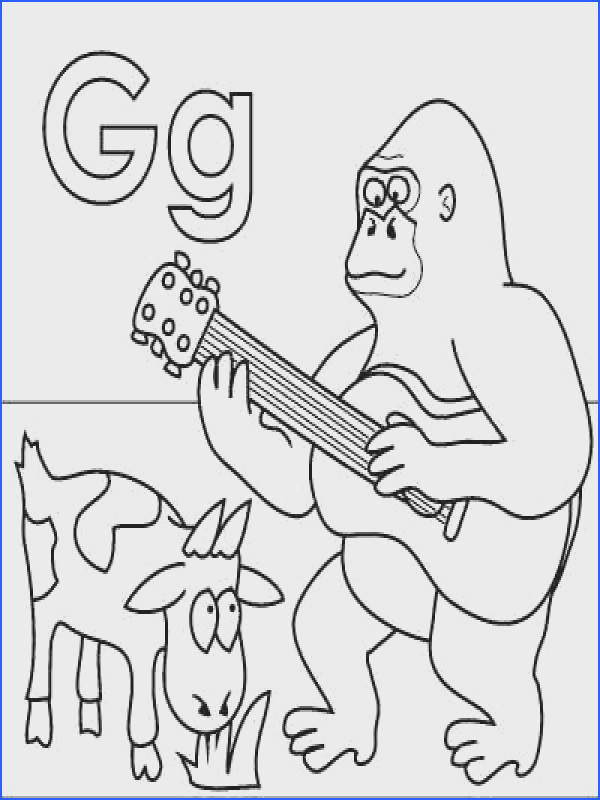 Letter G coloring page Gorilla Goat Guitar Grass from