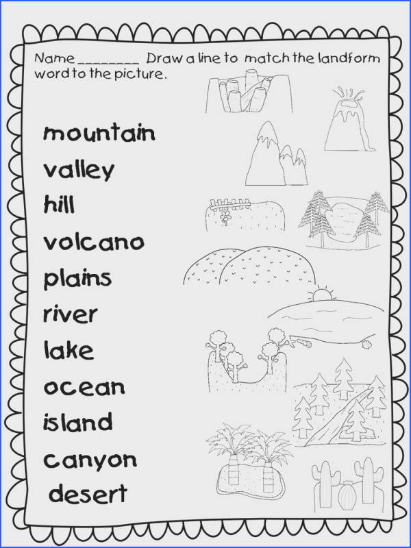 This landforms worksheets allows students to match the names of landforms found all over the world with the correct picture