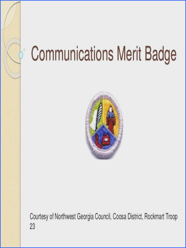 munications Merit Badge Courtesy of Northwest Georgia Council Coosa District Rockmart Troop 23