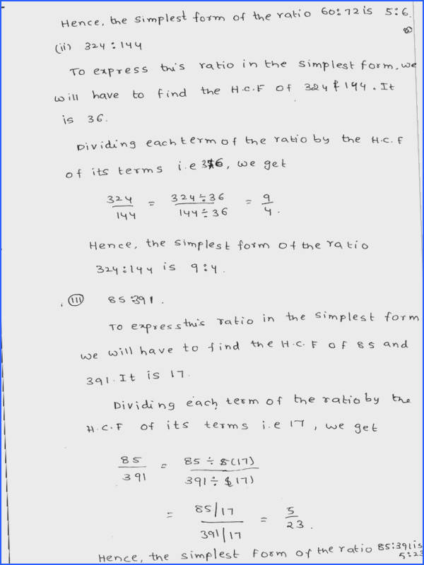RD Sharma Solutions Class 6 Maths Chapter 9 Ratio Proportion and Unitary Method