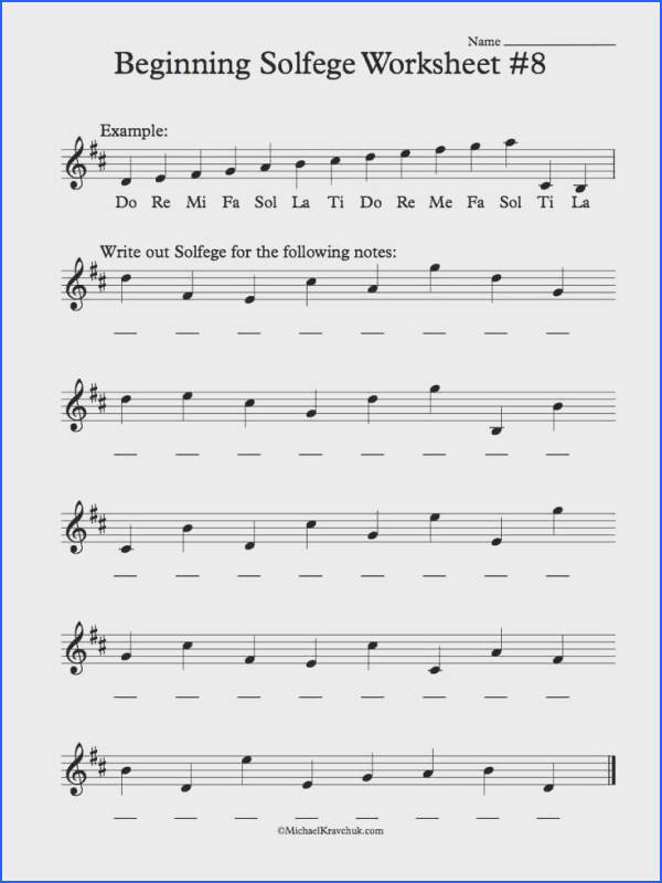 Worksheet 8 Solfege Worksheets for Classroom Instruction