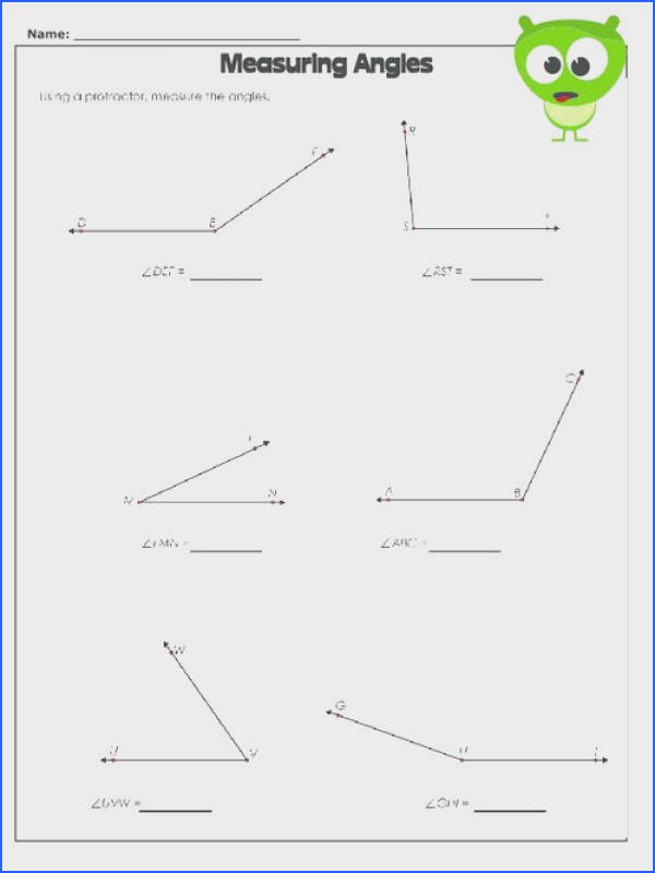 Measuring Angles Worksheet