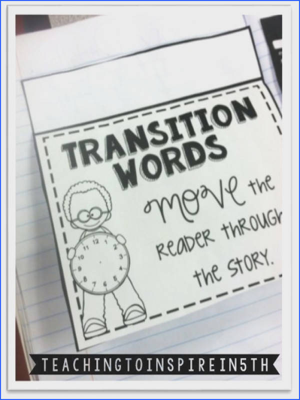 Transition Words Interactive Notebook Freebie