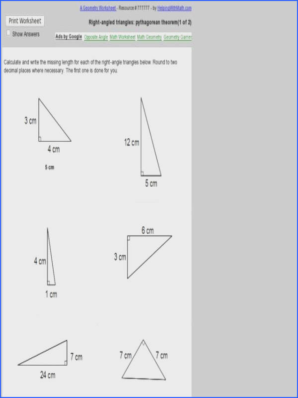 8th Grade Geometry Worksheets New Pythagorean theorem Worksheet Grade 8 graph