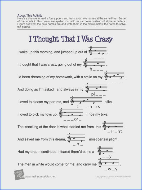 Learn Your Treble Clef Note Names with our I Thought That I Was Crazy Note Name Worksheet Free Digital Print Music Theory Worksheet for Kids