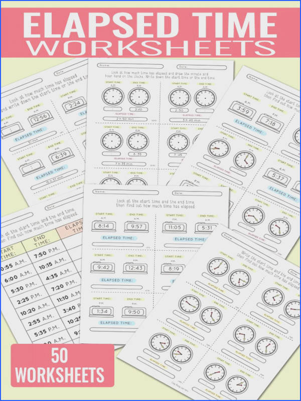 50 Elapsed Time Worksheets Great resource for 3rd 4th and 5th Grade