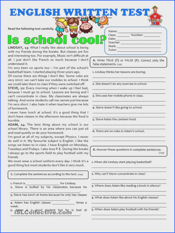 IS SCHOOL COOL 7th grade TEST