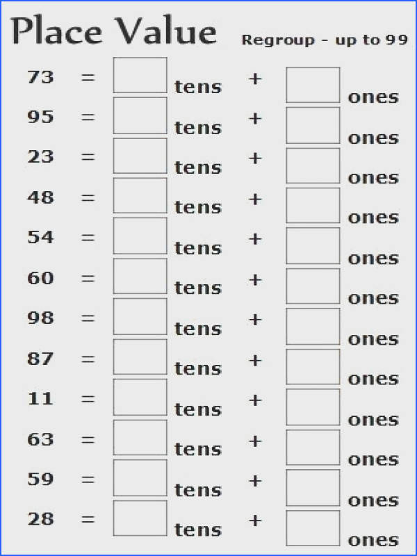 A free printable place value worksheet for 2nd grade math lesson plans