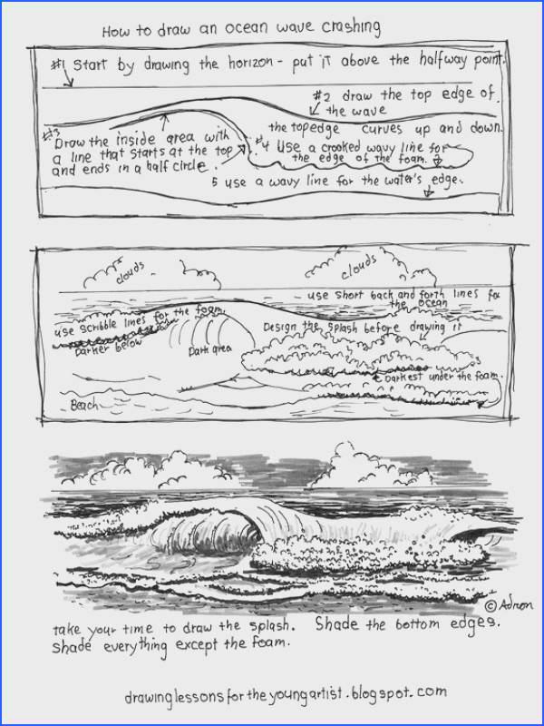 A free printable resource to help the young artist gain confidence in drawing an ocean wave Art Ideas Pinterest