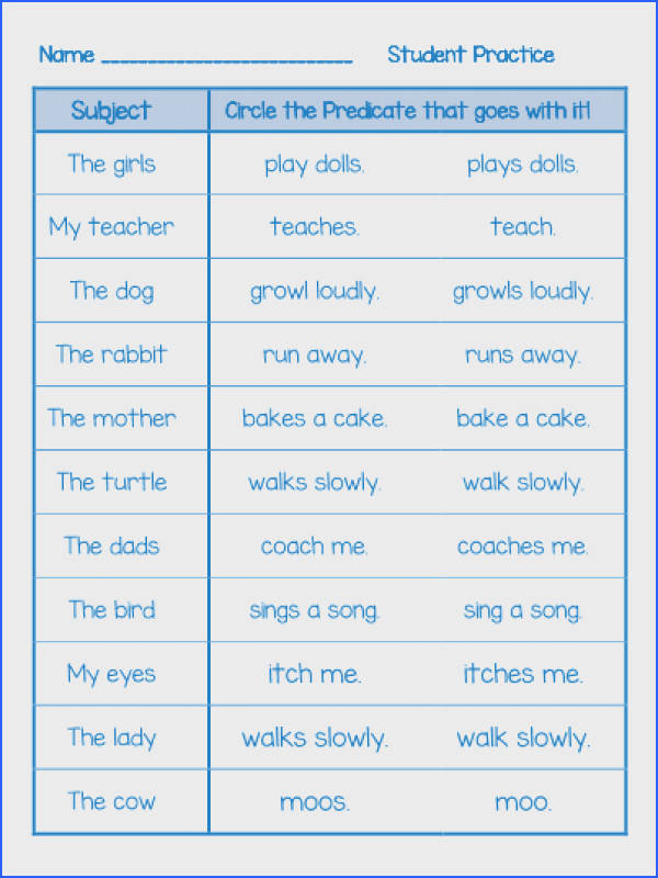A fun activity to introduce the importance of Subject Predicate agreement ac panied by three practice