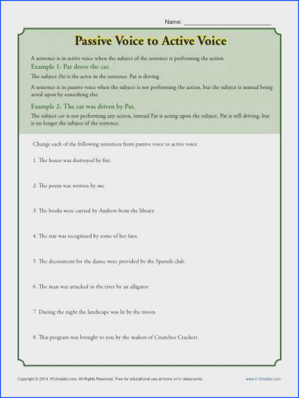Passive Voice to Active Voice Worksheet Activity