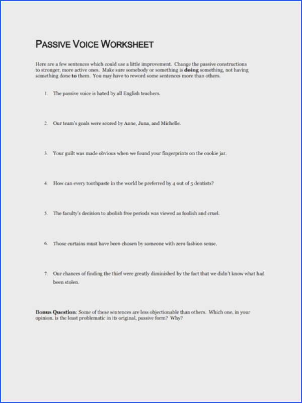 Passive Voice Worksheet Worksheet