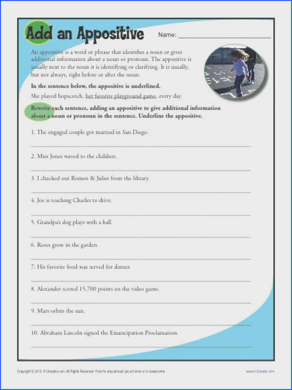 Add an Appositive II Free Printable Worksheet Lesson Activity