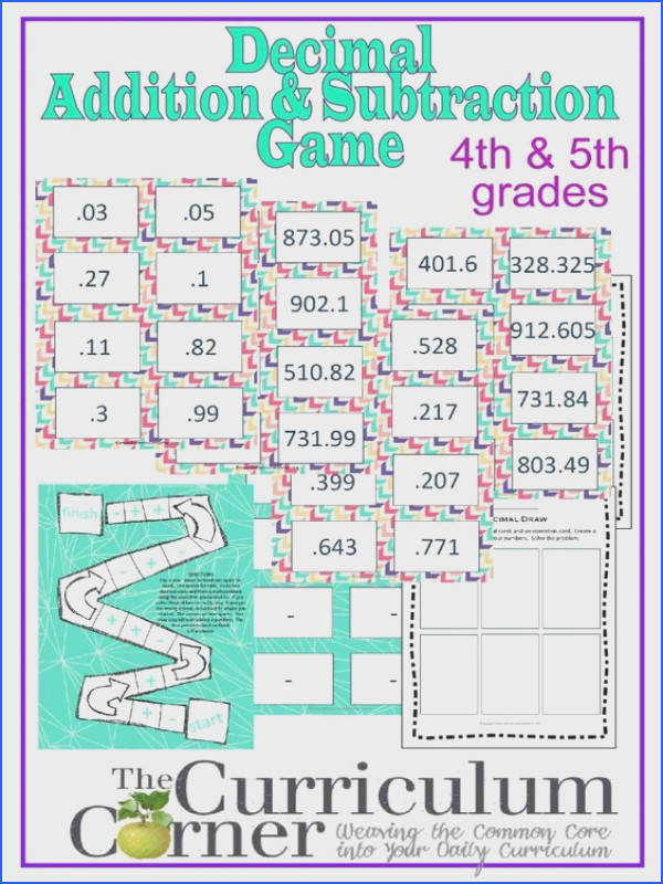 Adding and subtracting decimals game for 4th & 5th grades FREE from The Curriculum Corner