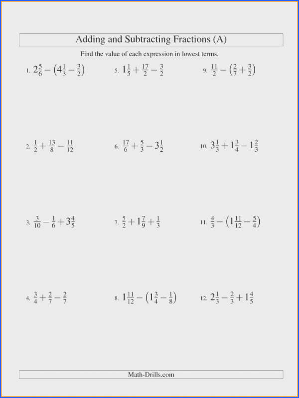 Adding And Subtracting Fractionsorksheets Pdf Report Example 6th Grade Fractions Worksheets Word Problems 7th Mixed With