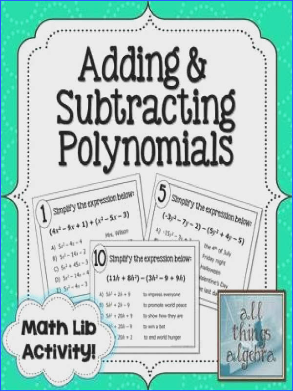 Adding and Subtracting Polynomials Math Lib