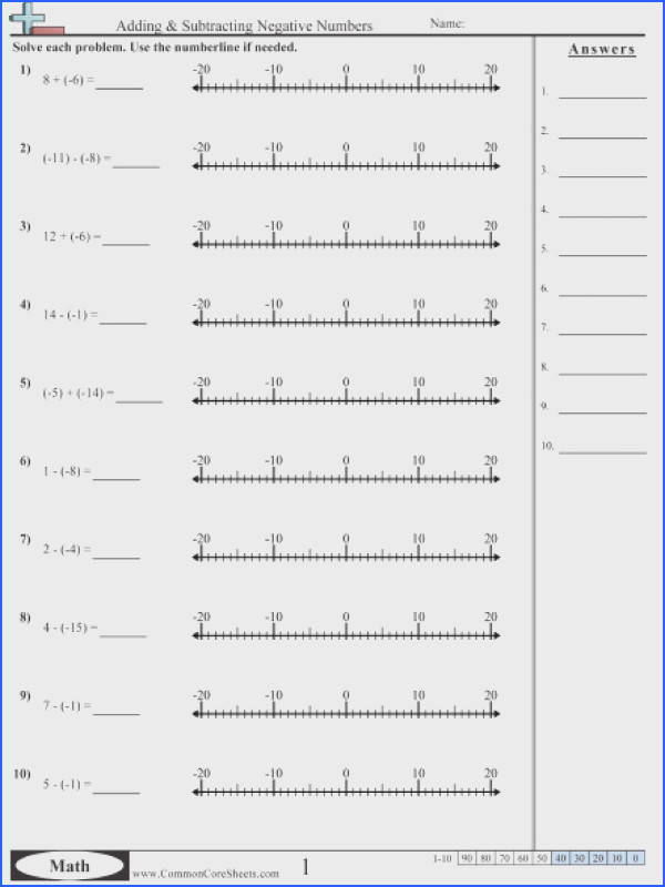 Adding & Subtracting Negative Numbers worksheet