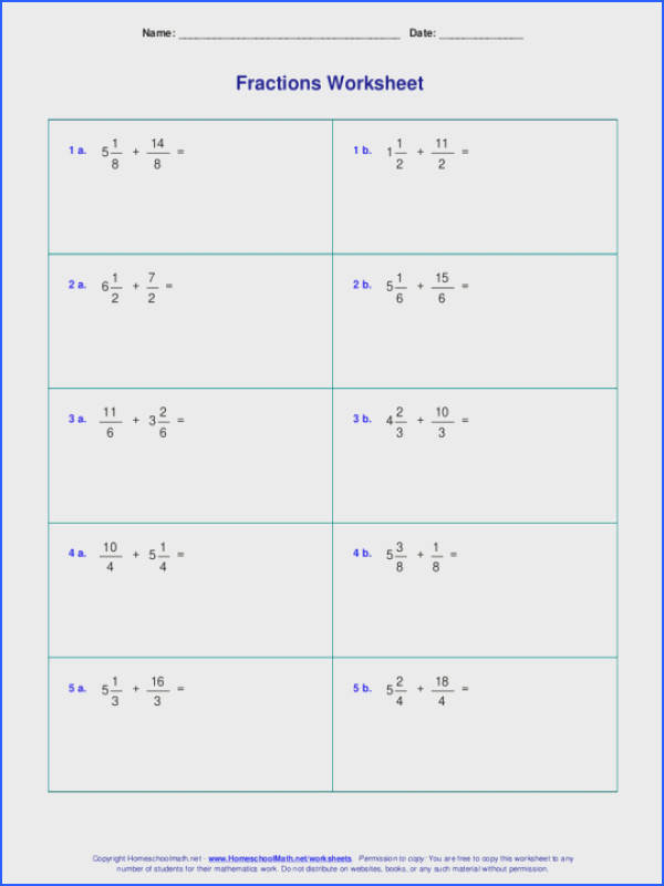 Worksheets For Fraction Addition Improper Mixed Number Easy Math Adding And Subtracting Fractions Withers Exercises With