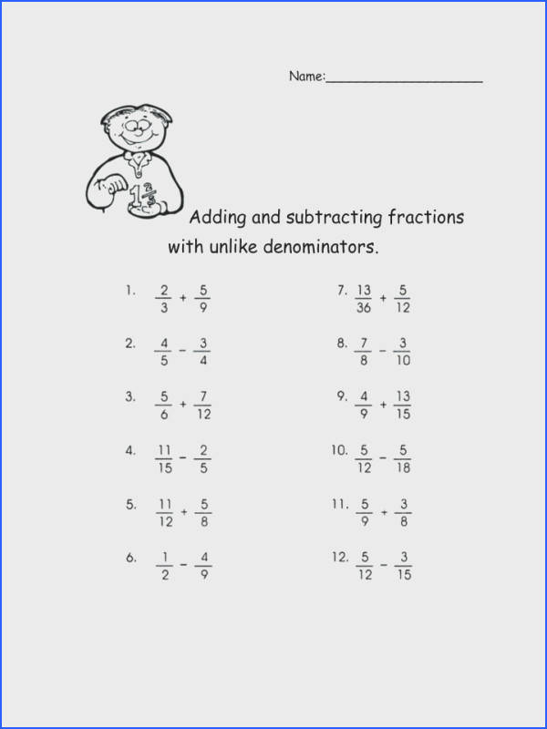 Adding And Subtracting Fractions With Unlike Denominators Math Worksheets Pdf mon Core Multiplying Dividing Worksheet Answers