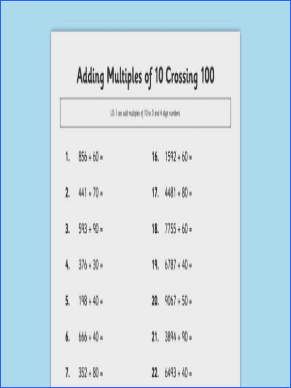 Adding Multiples of 10 Crossing 100 adding multiples adding multiples add