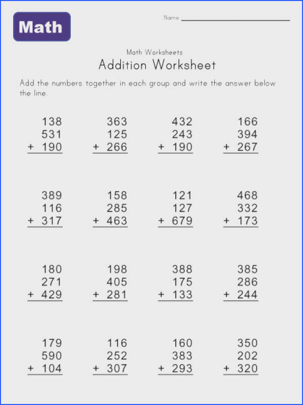 addition math worksheet 4