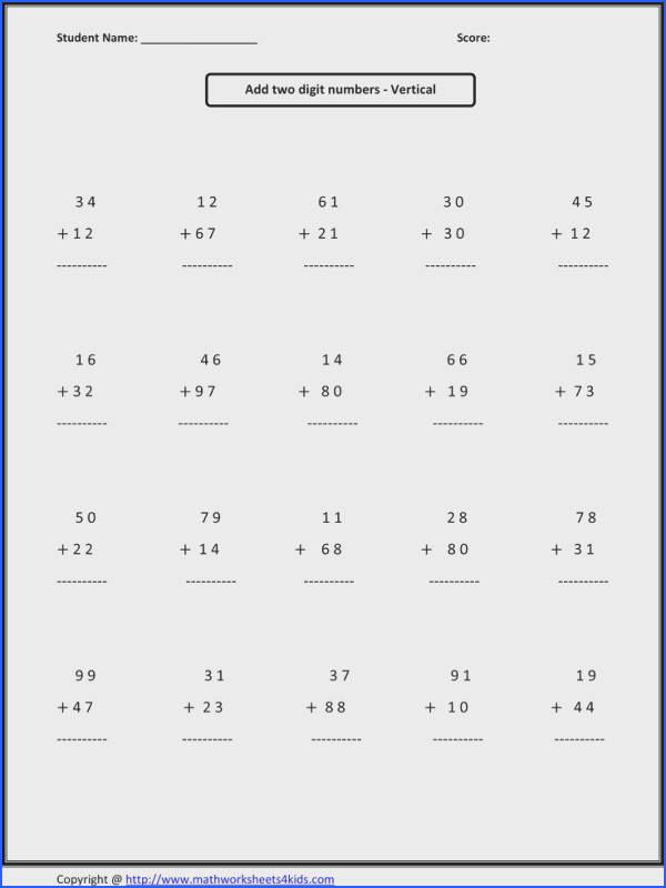 Addition Subtraction Worksheets 2Nd Grade Worksheets for all Download and Worksheets