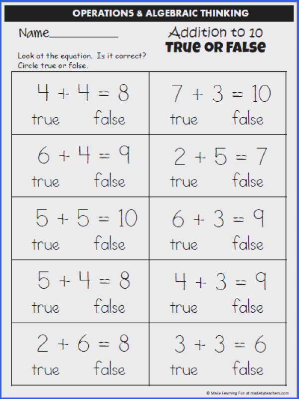 Addition to 10 – Circle True or False – Worksheet 2