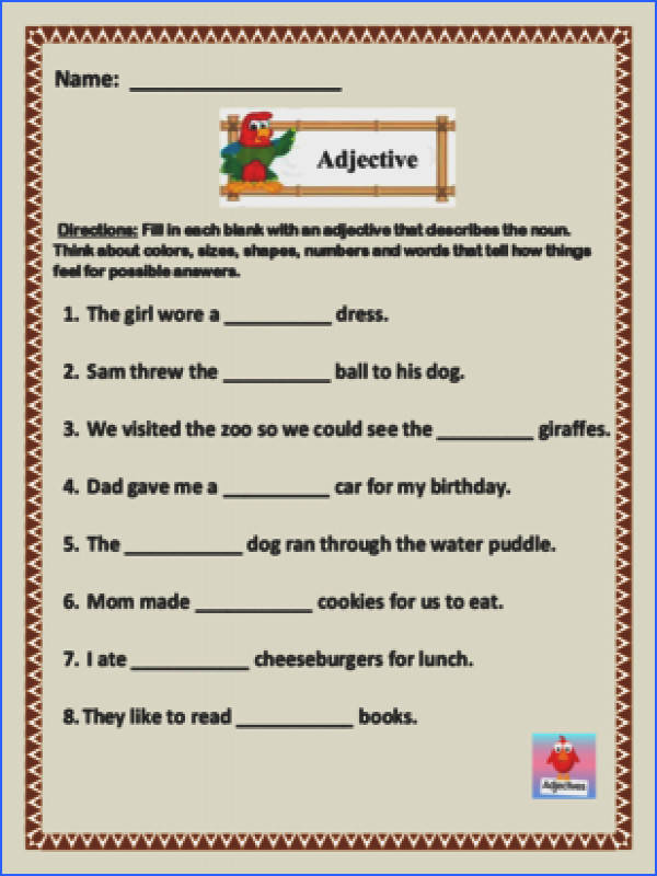 Adjective Fill In The Blank Worksheet 5 page of 8 sentences