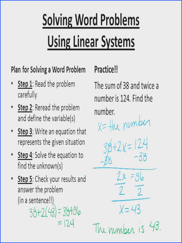Impressive Algebra 2 Word Problems Linear Equations Solving Word Problems Using Linear Systems Ppt