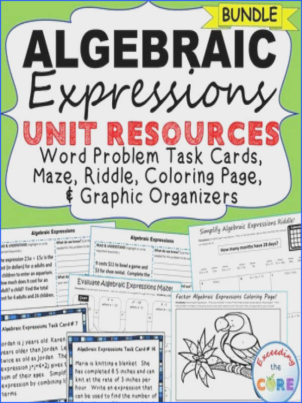 ALGEBRAIC EXPRESSIONS Error Analysis Task Cards Graphic Organizers Puzzles