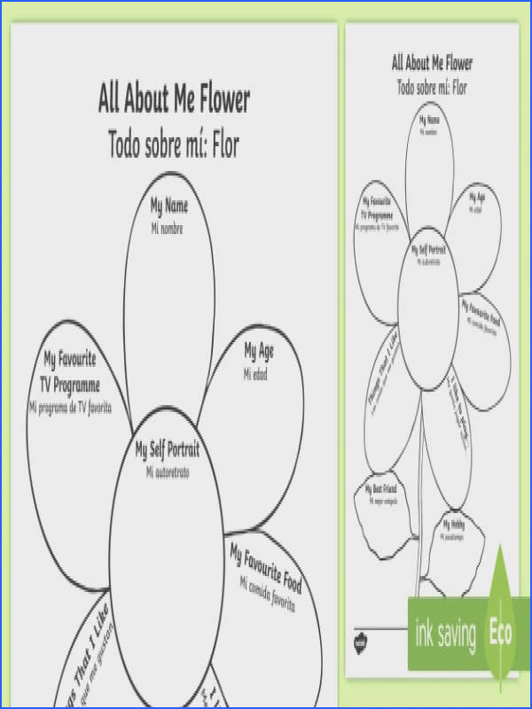 All About Me Flower Worksheet Activity Sheet English Spanish Ourselves All about