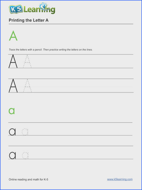 Printing letters Kindergarten letters and alphabet worksheet