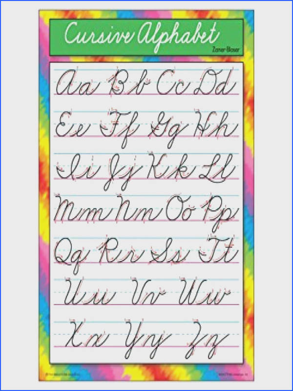 TREND enterprises Inc Cursive Alphabet Zaner Bloser Learning Chart 17""