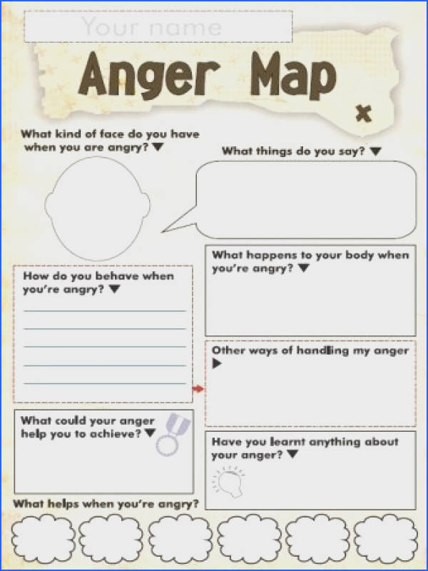 Free Anger and Feelings Worksheets for Kids Anger Map